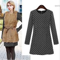 2014 autumn new dress, mulheres de vestido, women winter dress, dress with long sleeves, dress fall, women office dresses