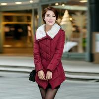 2014 winter new ladies cotton long section influx Women Slim fur collar coat
