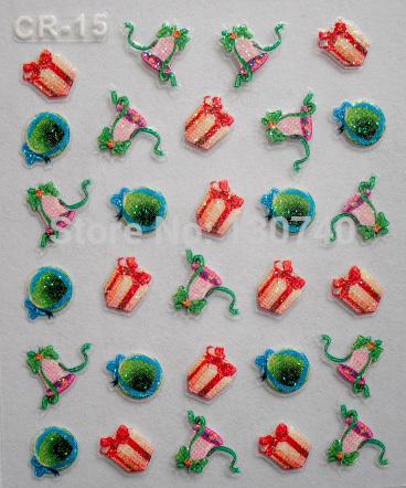 CR-15 Bell nail stickers gift Nail decals Christmas holiday Nail decoration Festival nail stick tools free shipping(China (Mainland))
