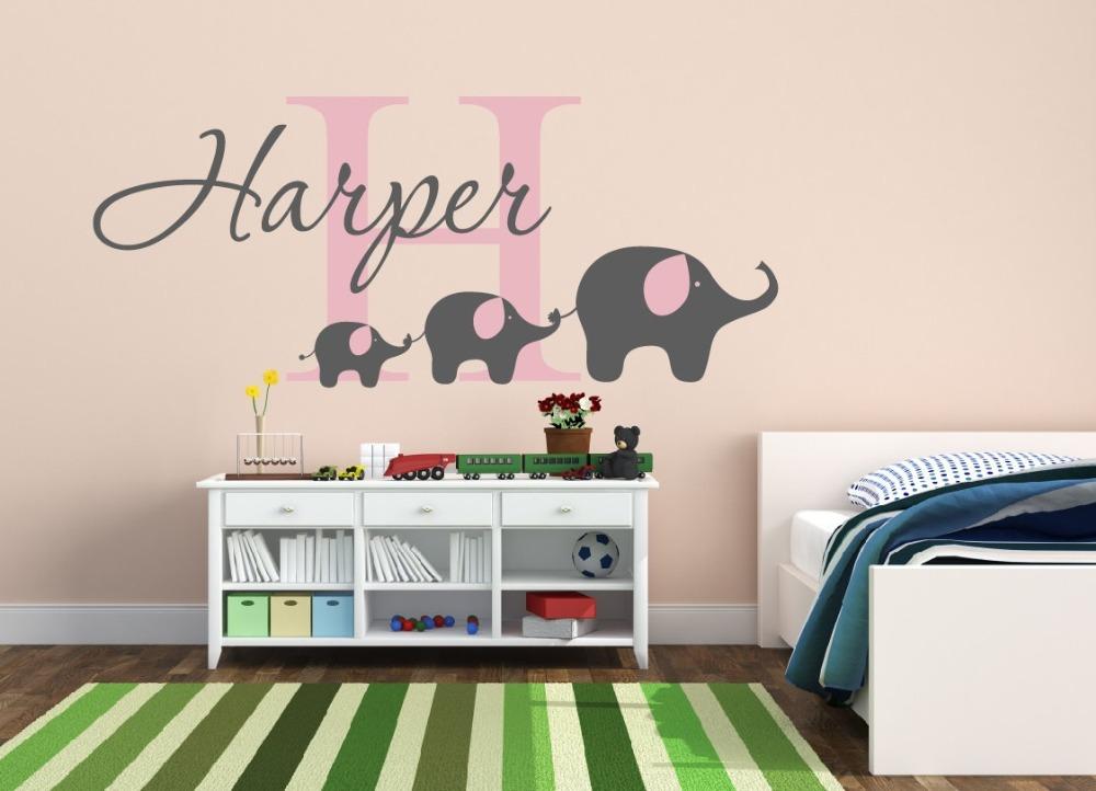 Removable custom name elephant wall decal nursery baby for Elephant mural nursery