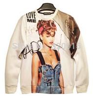 2014 New fashion Women/Men  rihanna talk and talk Print 3D Hoodies FINGER Pullovers sweaters ancient Galaxy sweatshirts top