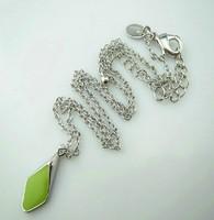 Silver Tone Green Stone Pendant Necklace  ls