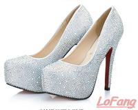 2014 New Brand Fall Women Silver Heels Shoes Ladies Fashion Crystals Wedding Shoe Evening Sexy Club Pumps Red Rhinestone Heel