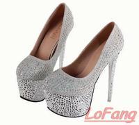 2014 Ladies Rhinestones Pumps Shoes Silver High Heels Platform Fashion Designer Brands Shoe Colored Crystals Wedding Platforms