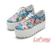 2014 New Floral Sneakers Fashion Women Casual Platform Canvas Shoes Low Flowers Sneaker Shoelace Casuals Ladies seven seas sale