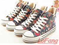 Autumn Light Flower Lace Up Sneaker Low Platform Canvas Shoes Woman 2014 Canva Wedge Lady Floral Sneakers Women's Flats Shoe