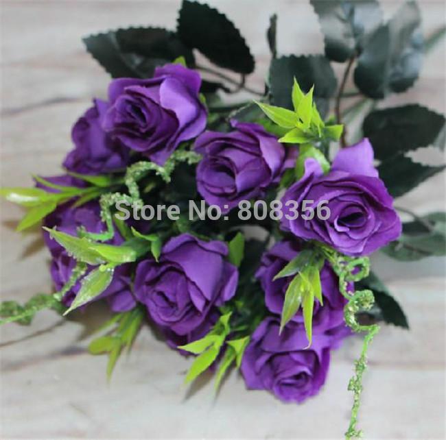 """Silk Rose Bush , 31 cm / 12.2 """" comprimento 10 pçs/lote rosas artificiais flor do casamento(China (Mainland))"""