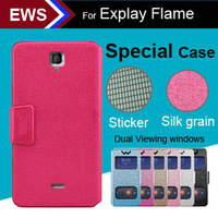 items Free Shipping Dual Viewing Windows Cool Case PU Leather Special Case + Free Gift For Explay Flame