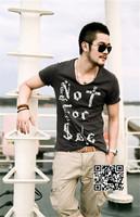 XNAN 2015 new Personalized printing men's V-neck T-shirt T718 short-sleeve Comfort T-shirt For Metrosexual men