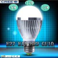 Factory diectly sale 50pcs/lot led Bubble Ball Bulb globe bulb E27 GU10 B22 E14 9W 12W 15W AC85-265V led Globe Light Bulb lamps