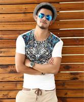 XNAN 2015 new Baroque national printing mercerized cotton T-shirt T598 short-sleeve Comfort T-shirt For Metrosexual men