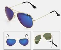 Free shipping Hot 1pcs Men Women Designer Aviator Sunglasses RB Gold Frame Blue Iridium Lens 58mm 3025 With Box Case all 62mm
