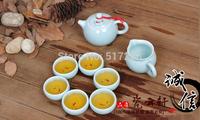 Boutique longquan celadon ceramic tea set made in China fish design 8pcs/lot handmade craft porcelain tea pot cup Chinese set