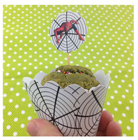 50+50 pcs/lot Spider Man Cake Decoration Cupcake wrappers and insert cards Party Decoration Supplies free shipping