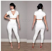 White V neck Novelty Women Jumpsuit 2014 Summer Sexy Two-piece Jumpsuit Style Club Pant Set Jumpsuits 6899