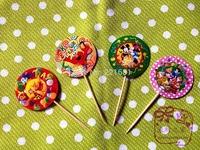 100 pcs/lot 4 Patterns Minnie Winnie Mickey Princess Cake Decoration insert cards Party Decoration Supplies free shipping
