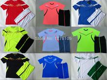 Nova chegada 2014-2015 futebol de formação define preto verde vermelho uniformes de treinamento de futebol kits de treinamento para fazer equipe azul(China (Mainland))