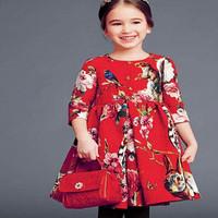 High End 2014102 autumn&winter girl  dress brand children princess dress,designer kids dobby dress girls dresses free shipping