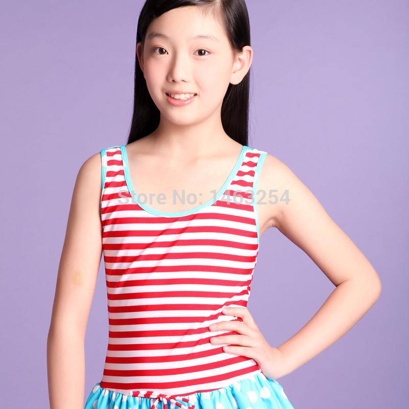 Little Girls in Swimwear Little Girl Full Striped High