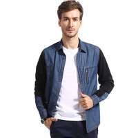 Brand Men's Fashion Slim Fit Casual Blue and Black Patchwork Denim Shirt Men Long sleeve shirts Freeshipping Camisas Manga Longa