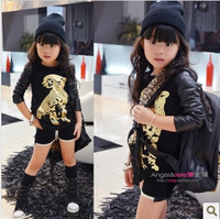 RQQ baby black gold leopard print  sleeve cashmere long sleeved long paragraph sweater factory direct H-505 D29 Christmas
