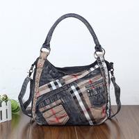 2014 new denim diamond large capacity bag handbag casual denim bag free shipping