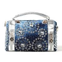 2014 new denim diamond large capacity bag handbag Messenger bag casual jeans Free Shipping a006
