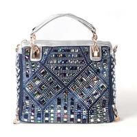 2014 new denim diamond large capacity bag handbag casual denim bag free shipping a013