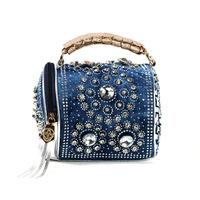 2014  denim diamond rivet bag handbag casual denim  free shipping a0s3r40