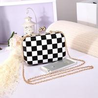 Black White Grid Evening Bag Vintage Soulder Bags Plaid Designer Handbags High Quality Women Evening Clutch Purses and Handbags