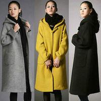 Winter Womens Long Wool Coat Hooded Loose Thick Jacket Warm Cloak Parka Overcoat