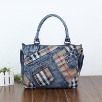 2014 new denim diamond large capacity bag handbag casual denim bag free shipping s3d4g4