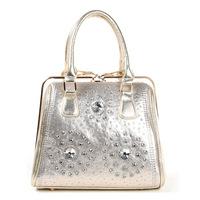 2014 new handbag handbag bag diamond casual denim bag free shipping B004