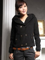 Lady early autumn clothing of new short paragraph student leisure all-match coat loose big code wool coat
