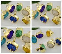 Finding - 5Pcs Gold Plated Metal Bezel Setting Mixed Color Druzy Quartz Rings Fit Party/Wedding