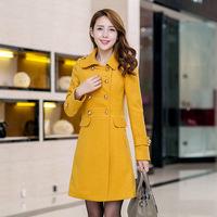 2014 Autumn new Korean double-breasted wool coat Slim casual long -sleeved woolen coat women's Long Jacket Outwear Overcoat