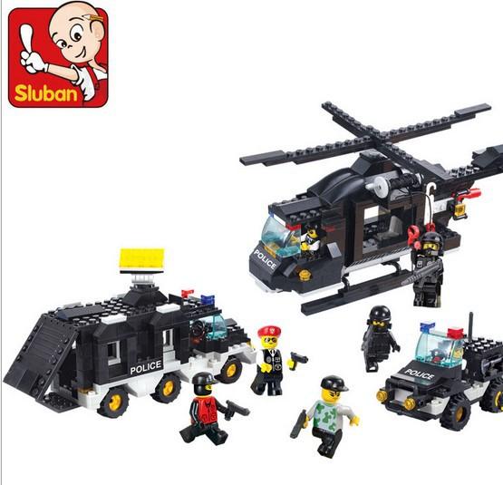 Free shipping Sluban M38-B2100 499pcs riot police SWAT team special teams Mobil Unit 3D plastic building block sets(China (Mainland))