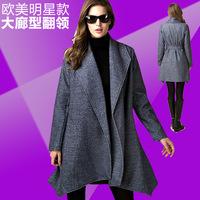 2014 France Pairs Europe station Hitz  woolen coat irregular profile of woolen jacket lapel lace overcoat Top quality