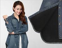 2014 New Fashion Large Size Women Slim Thin Special Thick Velvet Warm Dovetail Style Nostalgia Denim jacket 12888 Size 2XL--4XL