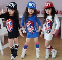 2014 Autumn Fashion Children Dress Cartoon Big Tongue Long Sleeve Dress Wear Child Girl Clothes