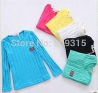 2014 T-shirt boy/girl's long sleeves t-shirt kids tops kids t-shirts baby cotton tshirts baby clothing 5pcs/lot free shipping