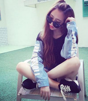 2014 Free Shipping Hot Sale Korean Institute Of Wind Sleeve Denim Stitching Letter Sweater Hedging As The Picture Drop Shipping