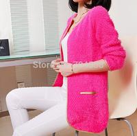 free shipping wholesale 2014 new Korean Phnom penh mohair knitting cardigan sweater coat Han edition fashionable joker coat