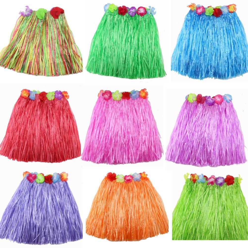 8 cores saia de grama elástico desfile de moda dança hula havaiana crianças vestidas em saias de capim sutiã guirlanda 40 cm(China (Mainland))