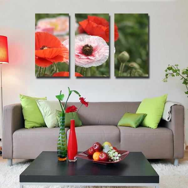 3 peça pintura decorativa arte papoila pintura a imagem tapeçaria Canvas tinta de impressão(China (Mainland))