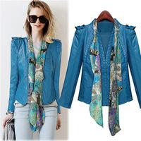 2014 New Fashion Women Motorcyle Faux Leather Jacket, Ribbons PU Female Coat, 4 Sizes, Blue, Freeshipping