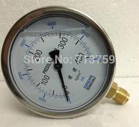 "Free shipping YN-100 Oil filled Stainless Steel Pressure Gauge Meter Manometer 100mm Dia 3/8""BSPT"