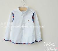 2014  autumn new arrivalchild  boy aesthetic laciness 100% cotton boy shirt