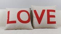 Home Style Cotton Linen Decorative Couple Throw Pillow Cover Cushion Case Couple Pillow Case, Set of 2 (LOVE)