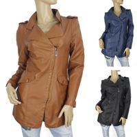 Jaqueta De Couro Feminina Real 2014 Women Pu Leather Long Jacket Ladies Outerwear Slim Fit Coat Big Size 3xl- free Shippingy8959